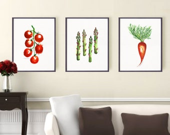 Kitchen print Vegetable print Set of 3 print Watercolor print Botanical print Apartment decor Tomato Asparagus Carrot 5x7 8x10 print