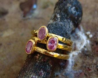 3 pcs Hand Forged Pink Topaz Stack Rings Set 18 k gold Vermeil Over 925 k Sterling Silver By Ferimer