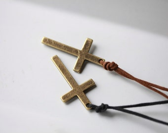 Mens Large Metal cross - Mens Cross Necklace - Stunning Metal Cross