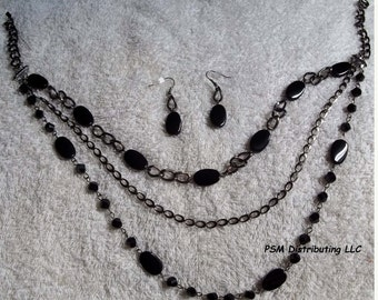 Gunmetal chains and jet-black beads necklace and earrings