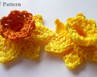 PDF Pattern - Crochet Yellow Daffodil - Instant Download/flower/floral motif/accessory/home decor