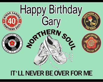 Northern soul  personalised birthday card and envelope Green