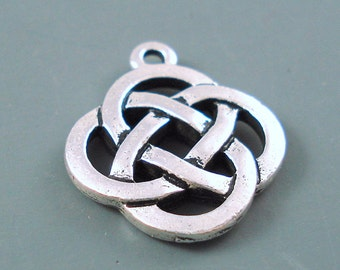 Celtic Knot Pewter Charm, Terra Cast Pewter Charm, Rounded Cetic Knot