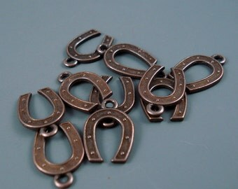 Horseshoe Charms, Ten Pieces,18MM Antique Copper Horseshoe Charms