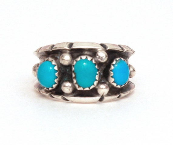 Milton Lasiloo Zuni Sterling Turquoise Ring Vintage Signed