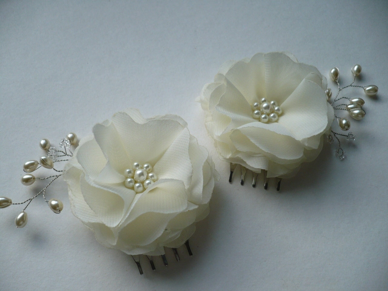 Bridal Ivory Flower Hair Accessories : Ivory hair accessories flower comb bridal accessory