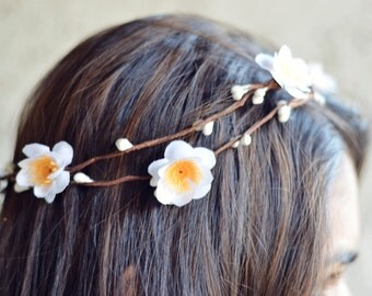 THE LINNEA - Hawaiian White Halo Crown Double Vine Flower Girl Festival Hair Jewelry Accessories Boho Floral Crown Spring Summer Coachella