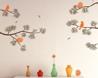 Realistic Pine Tree Branch with Birds Decals Wall Sticker Stick on Wall art Decals Home Decor Art by DecalIsland-Pine Tree branch SD 012