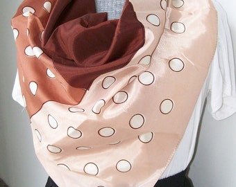 "Vintage POLKA-DOT SCARF and Scarf Slide Vanette Rust Peach White Water Repellent 32"" x 32"""