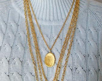 """Multi Chain LOCKET NECKLACE Goldtone Floral 28"""" - 32"""" long Mod Layered Romantic Vintage Jewelry Lot Stacking"""