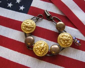 Vintage US NAVY Button Bracelety-Anchors AWAY