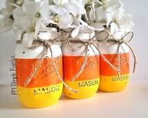Hand painted mason jar Halloween decor, halloween decor, holiday decor, fall decor, home decor, housewares, bathroom decor