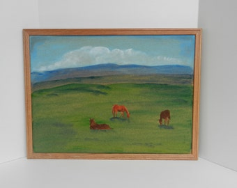 Wood framed up-cycled bulletin cork board peaceful painting of horses and mountains. Colorful organizer for home, office, dorm or classroom
