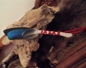 OOAK Native American Indian Handmade Smudge Ceremonial Fan w Goose, Parrot, Bluejay, Crystal Quartz & Kunzite~Reiki Blessed