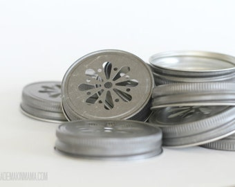 35 PEWTER Daisy Cut Mason Jar Lids for Tumblers Cups Glasses Wedding Baby Shower Kids Birthday party Table Setting