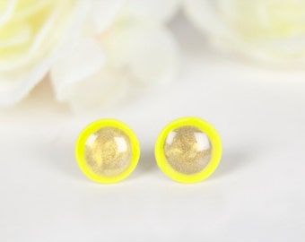 Stud Earrings For Men, Neon Earrings, Mens Earrings, Mens Studs, Yellow Stud Earrings, Yellow Posts