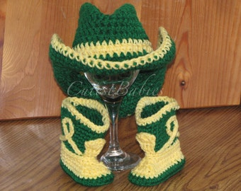 Newborn Baby Crochet Cowboy/Cowgirl Hat & Boots Photo Prop.....