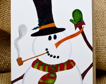 Cheery Snowman, Christmas, Holiday Card