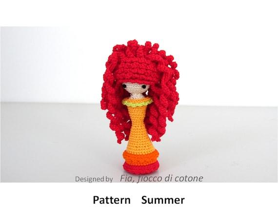 Miniature Amigurumi Doll : Pattern summer miniature doll amigurumi crochet princess