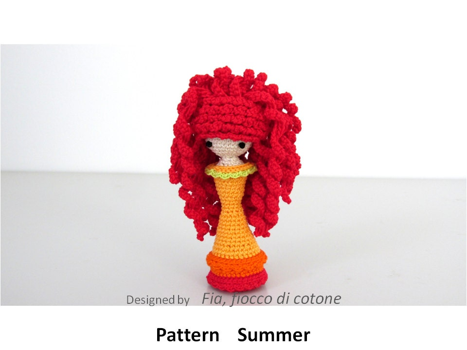 Crochet Mini Doll Pattern : Pattern Summer miniature doll amigurumi crochet princess