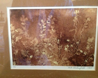 OOAK original block monoprint (1/1) plant life brass frame matted A & K Rahnfeld l986 Cincinnati artists