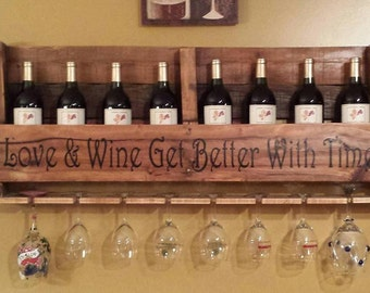 Custom pallet wine rack with personalized lettering, quote