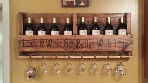 Custom pallet wine rack with personalized lettering quote for Pallet wine cabinet
