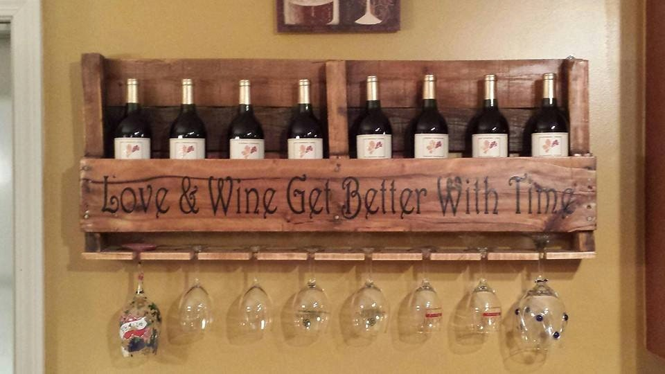 Custom Pallet Wine Rack With Personalized Lettering Quote