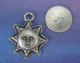 2 Aztec Sun Pendants LEAD FREE Pewter Antiqued Silver Necklace Charm Pendant Jewelry Made In America