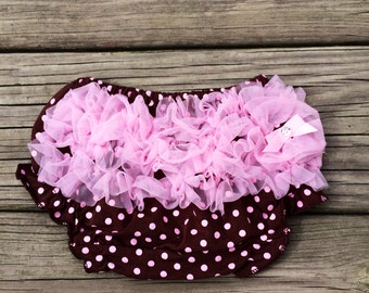 SALE Pink and Brown Baby Bloomers