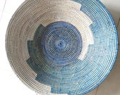 Electric Blue Serving Platter, Plate, serving dish, Fruit Bowl, wall deco, home decor, jewelry storage,african wicker