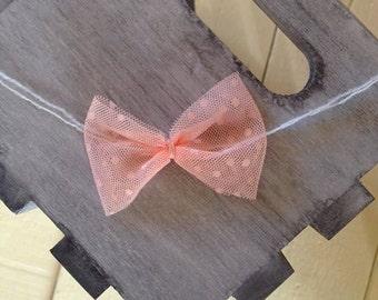 Peach Polka-dot Bow