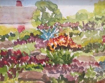 Watercolor Impressionist Painting Cottage Garden Framed under Glass Small Original