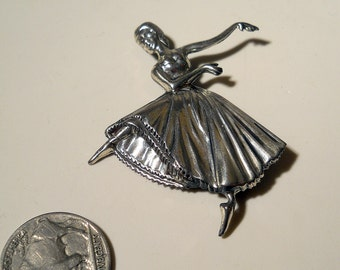 Vintage Jewelry, brooch,  Sterling Silver by Lang, ballerina, 1950's or 60's