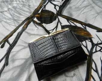 FINAL CLEARANCE SALE - Vintage Leather Black Purse - 1960's - English Fashion - Never Been Used