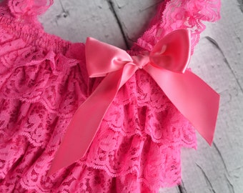SALE HOT PINK Lace Romper Baby Girl- Photography Prop- First Birthday Outfit- Pettiromper- Lace Pettiromper