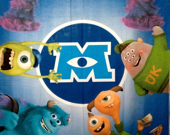 "Monsters Inc University All Characters PANEL Fabric - L85"" x W57"" inches Poly Cotton"
