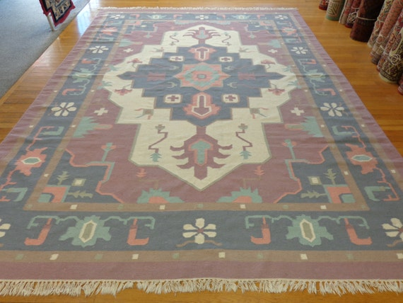Oriental Rug Indian Dhurrie Rug 8 3 X 11 4 Purple
