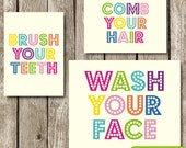 Set of 3 Bathroom Prints in Pastel Colors {Wash Your Face} {Comb Your Hair} {Brush Your Teeth}