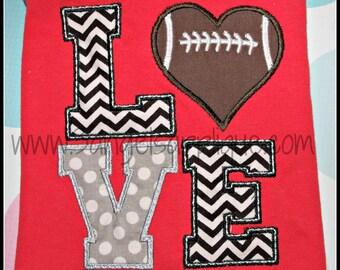 LOVE Football heart design digital applique design 3 sizes INSTANT DOWNLOAD