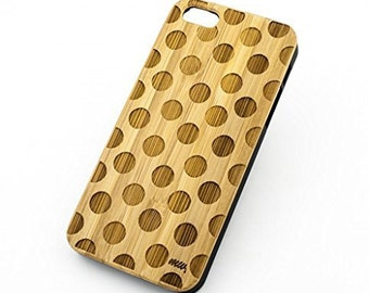 Bamboo Wood Case Cover for Apple iPhone 5/5S Polka Dots
