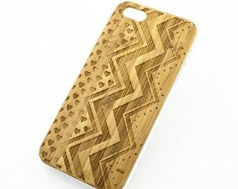 Bamboo Wood Case Cover for Apple iPhone 5/5S Chevron Hearts Hipster Zig Zag