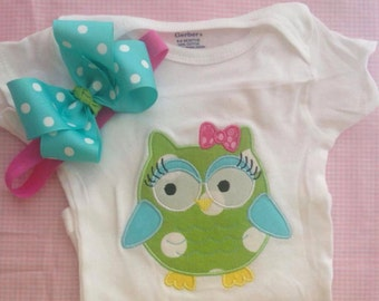 Owl Onesie or tshirt with matching bow or headband girls sizes 0-3 months to 5t
