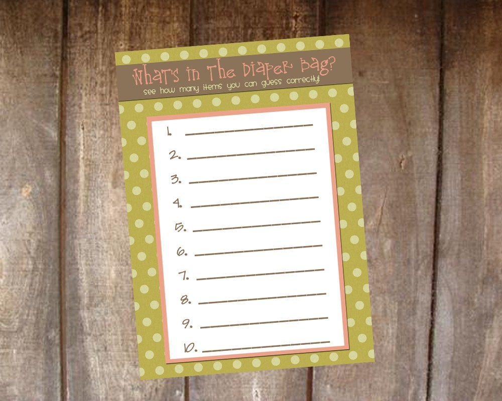 baby shower game what 39 s in the diaper bag by tinylittledots