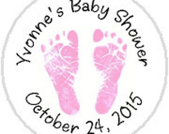 Baby Girl Pink Footprints 108 Candy Stickers - fits Hershey Kisses®