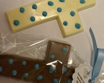Chocolate Cross Favor with Polka Dots - Communion Favor - First Holy Communion Favor - Christening Favor - Baptism Favor - Religious Favor