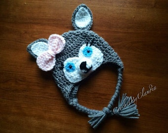 Crochet Little Miss Husky Beanie/ PhotoProp--- Made In Any Size