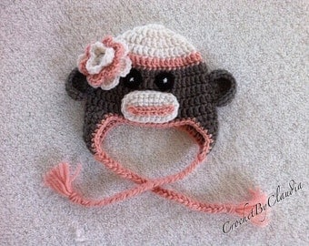 Crochet Baby Girl Sock Monkey Beanie/ Sock Monkey/Made To Order