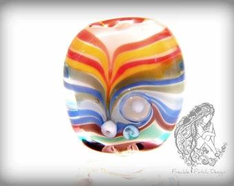 Rainbow Lampwork Focal  Bead, Tab, Flameworked, Handmade , OOAK