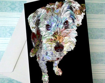 10 5x7 Greeting Card with Little Terrier Dog